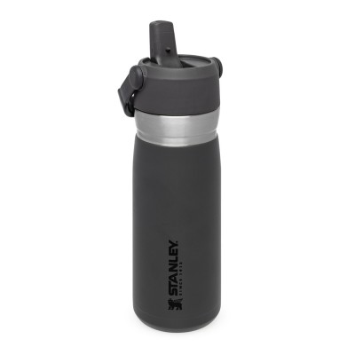 The IceFlow Flip Straw Water Bottle 0,65L Charcoal
