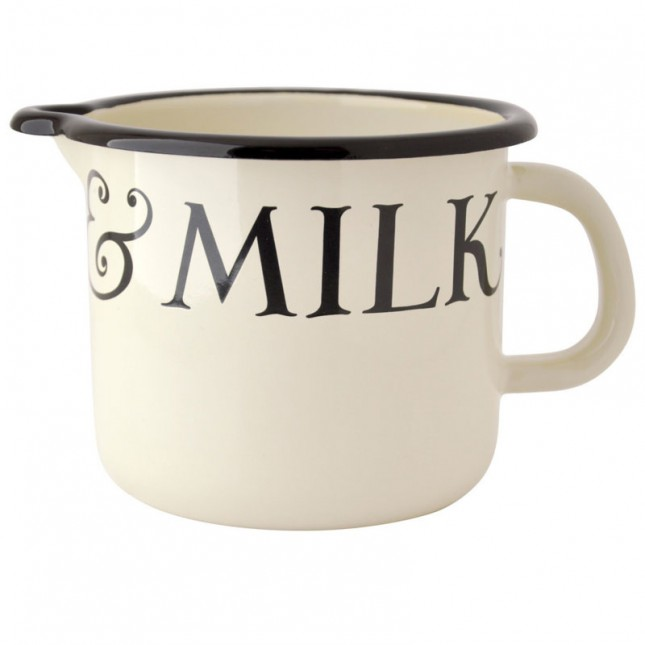 Emaille Milk Pot Black Toast