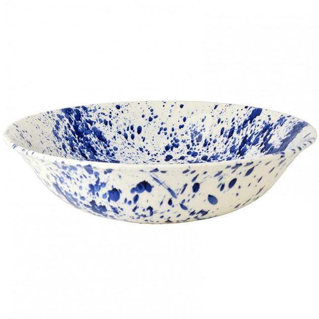 Large Dish Blue Splatter