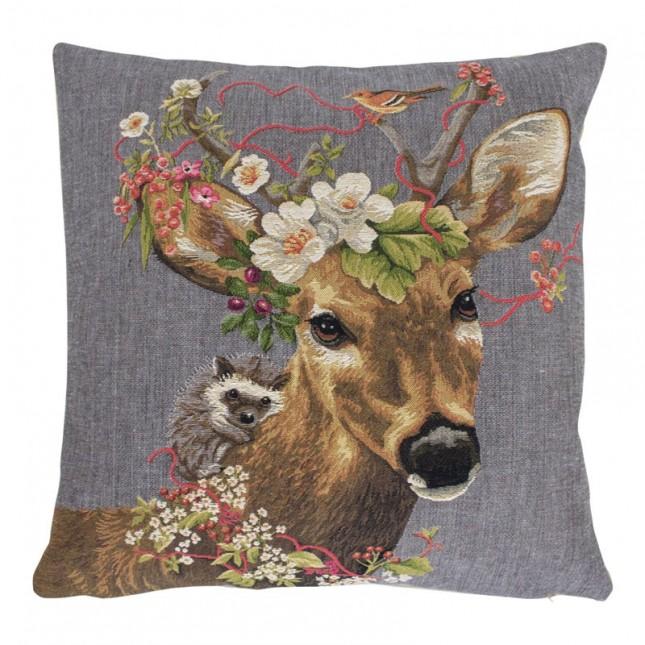 Gobelin Kussen Flower Deer Hedgehog