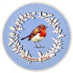 8 1/2 Inch Plate Christmas Wreath Robin