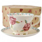 Cup & Saucer Rose & Bee (large)
