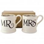 Half Pint Mug Mr. & Mrs. Black Toast (set)