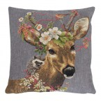 Gobelin Kussen Flower Deer Hedgehog