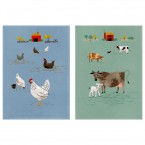 Magpie Theedoek Set Hugletts Wood Hen & Cow