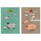 Magpie Theedoek Set Hugletts Wood Sheep & Pig