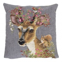 Gobelin Kussen Flower Deer Squirrel