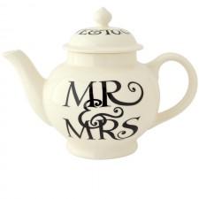 4 Cup Teapot Black Toast Mr & Mrs