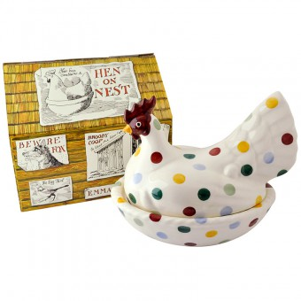Large Hen On Nest Polka Dots