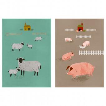 Magpie Theedoek Set Hugletts Wood Sheep & Pig